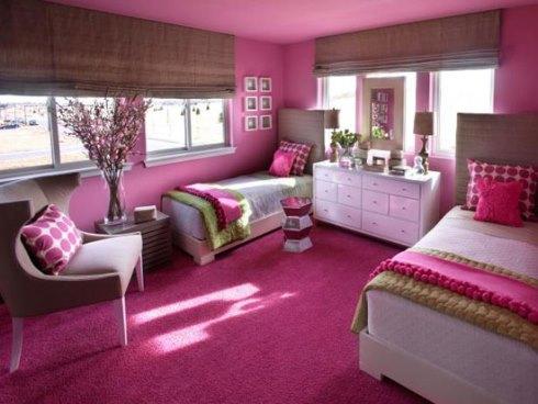 دکوراسیون اتاق خواب با رنگ صورتی