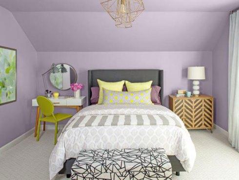 دکوراسیون اتاق خواب با رنگ بنفش پاستیلی