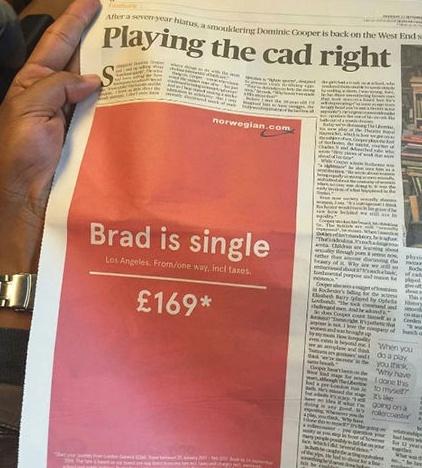 چاپ آگهی تبلیغاتی در روزنامه پس از مجرد شدن برد پیت