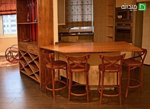 کابینت آشپزخانه کوچک: استفاده از چوب