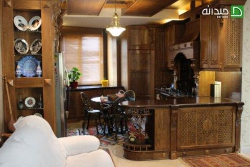 کابینت آشپزخانه کوچک: استفاده از میز گرد