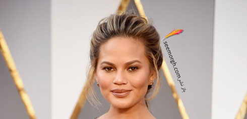 مدل آرایش کریسی تیگن Chrissy Teigen در مراسم اسکار 2016 Oscar
