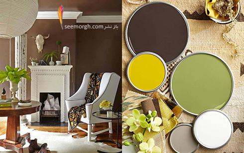 ترکیب رنگی قهوه ای، سبز و زرد برای دکوراسیون اتاق نشیمن تابستانی