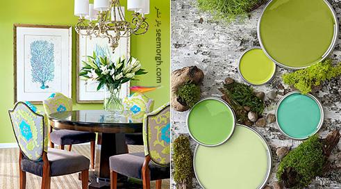 ترکیب رنگی آبی، سبز صدری و شیری برای دکوراسیون اتاق نشیمن تابستانی