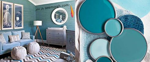 ترکیب رنگی آبی تیره و روشن برای دکوراسیون اتاق نشیمن تابستانی