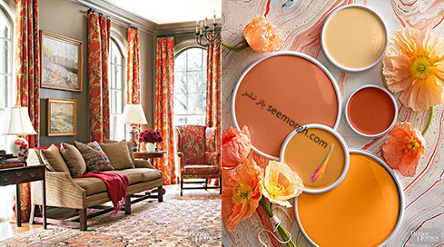 ترکیب رنگی کرم، گلبهی و نارنجی برای دکوراسیون اتاق نشیمن تابستانی