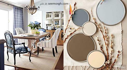 ترکیب رنگی خاکستری، آبی روشن، کرم و آبی متوسط برای دکوراسیون اتاق نشیمن تابستانی