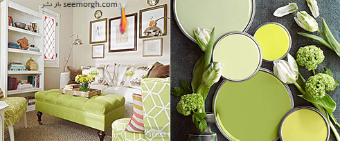 ترکیب رنگی سبز روشن، شیری و زرد برای دکوراسیون اتاق نشیمن تابستانی