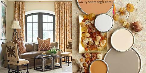 ترکیب رنگی خاکستری، کرم و گلبهی برای دکوراسیون اتاق نشیمن تابستانی