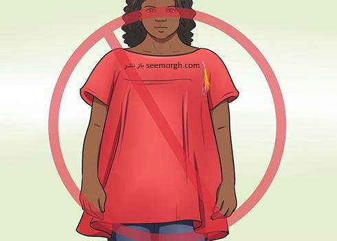 نپوشیدن لباس هایی با بالا تنه گشاد,ست کردن لباس برای خانم هایی که شکم بزرگی دارند