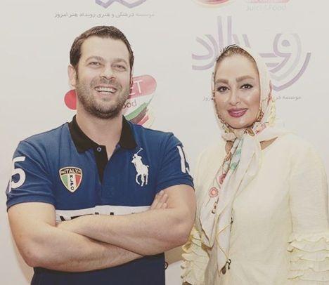 الهام حمیدی در کنار پژمان بازغی در افتتاحیه رستوران مگنت