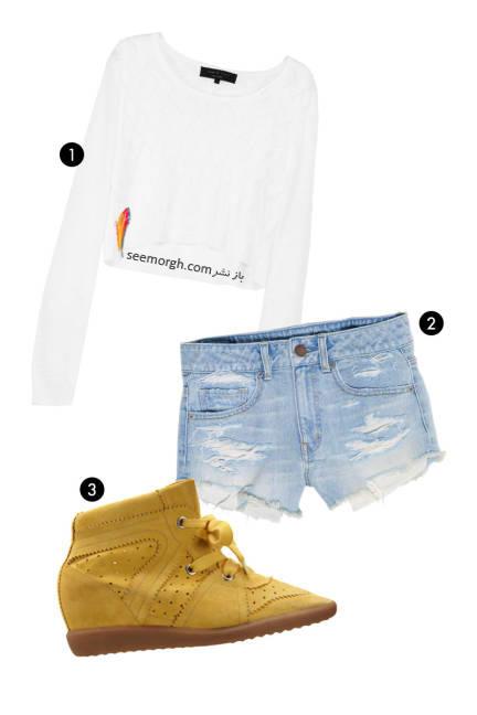 شلوارک سنگ شور با طرح پاره,10 ایده جالب برای پوشیدن نیم تنه های تابستانی,10 روش برای ست کردن نیم تنه تابستانی