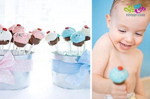 برای تولد کودک تان کاپ کیک ها را با شکلات ها تزیین کنید
