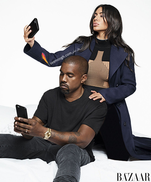 جدیدترین عکس های کیم کارداشیان Kim Kardashian و همسرش کانیه وست Kanye West روی مجله هارپر بازار Harper Bazaar - عکس شماره 3
