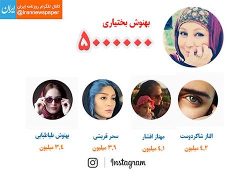 تعداد فالوئرهای بازیگران زن ایرانی