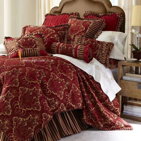 سرویس خواب طلایی با رو تختی زرشکی - عکس شماره 1