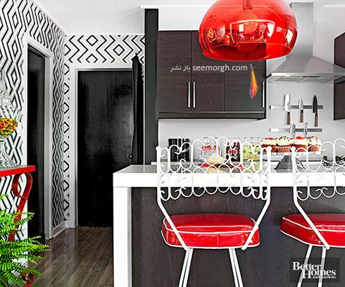 دکوراسیون آشپزخانه با ترکیب رنگ قهوه ای ونگه، قرمز و سفید
