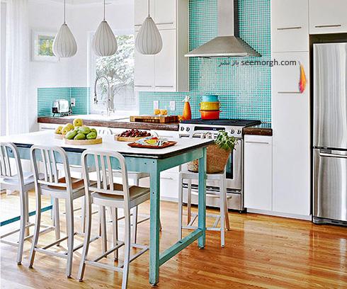 دکوراسیون آشپزخانه با ترکیب رنگ آبی و سفید