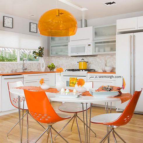 دکوراسیون آشپزخانه با ترکیب رنگ نارنجی و سفید چرک