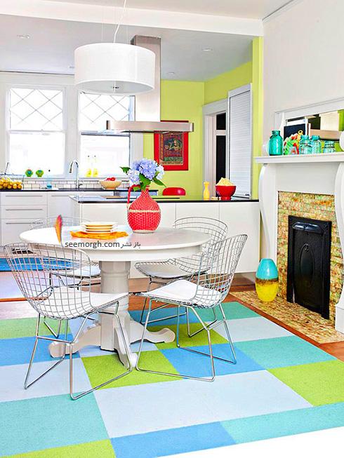 دکوراسیون آشپزخانه با ترکیب رنگ سبز، آبی  سفید