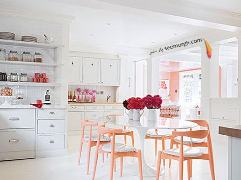 دکوراسیون آشپزخانه با ترکیب رنگ سفید و صورتی