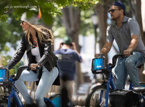 دوچرخه سواری دی کاپریو و معشوقه جدیدش