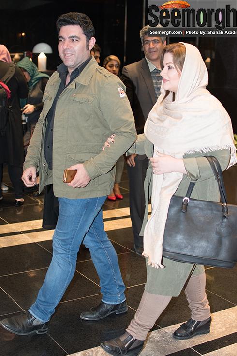 مصطفی کیایی و همسرش در اکران فیلم نیمه شب اتفاق افتاد