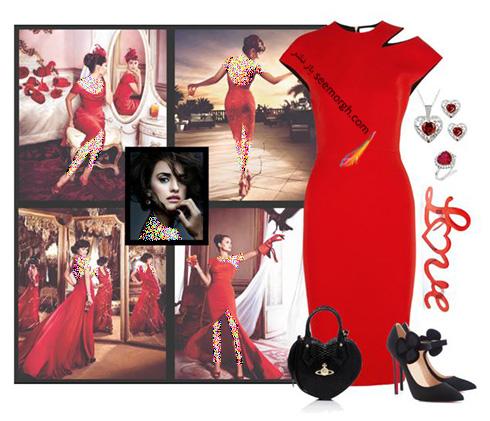 ست کردن لباس شب به رنگ قرمز به سبک پنه لوپه کروز Penelope Cruz - ست شماره 10