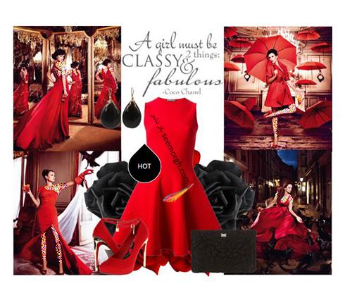 ست کردن لباس شب به رنگ قرمز به سبک پنه لوپه کروز Penelope Cruz - ست شماره 4