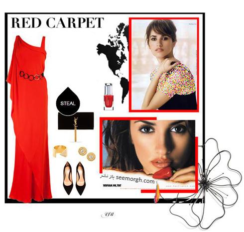 ست کردن لباس شب به رنگ قرمز به سبک پنه لوپه کروز Penelope Cruz - ست شماره 5
