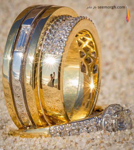 انعکاس عروس و داماد در حلقه ازدواج