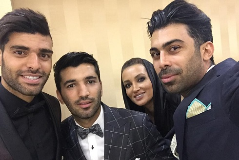 روناک یونسی و همسرش و مهدی طارمی در شب دامادی محسن مسلمان