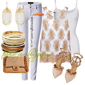 ست کردن لباس تابستانی با شلوار جین سفید - ست شماره 1