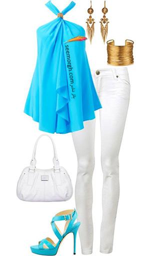 ست کردن لباس تابستانی با شلوار جین سفید - ست شماره 2