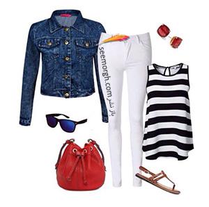 ست کردن لباس تابستانی با شلوار جین سفید - ست شماره 4