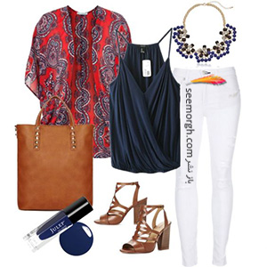 ست کردن لباس تابستانی با شلوار جین سفید - ست شماره 6
