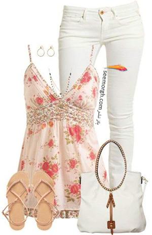 ست کردن لباس تابستانی با شلوار جین سفید - ست شماره 9