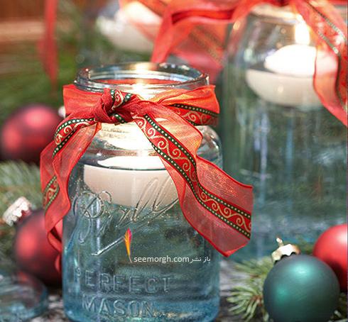 شمع های شناور را درون شیشه های مربایی قرار دهید