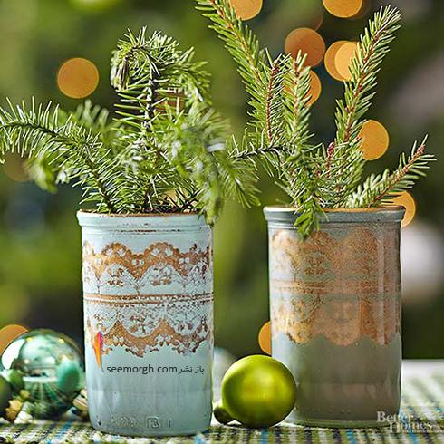 با شیشه های مربایی گلدان های دو رنگ زیبا درست کنید