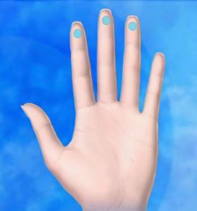 سه انگشت میانی برای معاینه پستان