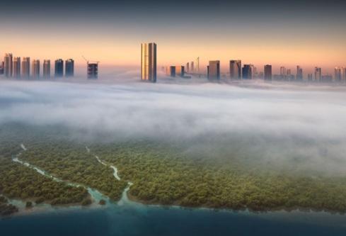 طلوع خورشید در شهر ابوظبی