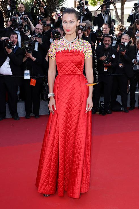 مدل لباس بلا حدید Bella Hadid در سومین روز جشنواره کن 2017 Cannes