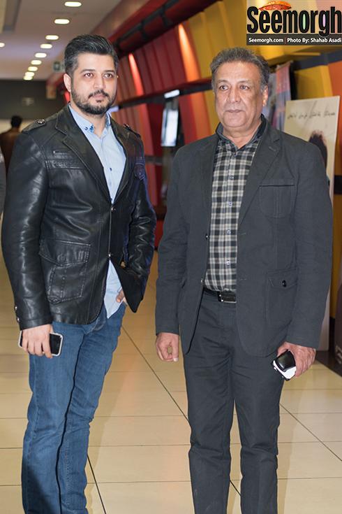 عبدالرضا اکبری و پسرش پندار اکبری در اکران فیلم نفس