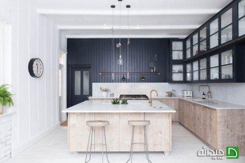 دکوراسیون آشپزخانه با شیرآلات طلایی رنگ