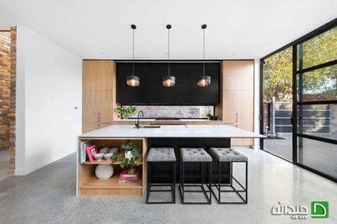 نیمکت ساده و باریک در طراحی آشپزخانه