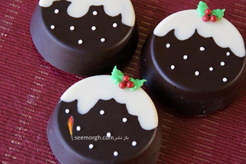 شیرینی کریسمسی با بیسکویت و شکلات تلخ