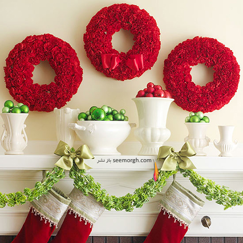 دکوراسیون کریسمس با ترکیب رنگ سفید و قرمز - عکس شماره 7