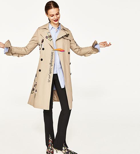 بارانی طرح دار از برند زارا Zara