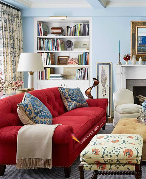 ترکیب رنگ قرمز، آبی و سفید برای دکوراسیون داخلی اتاق نشیمن - عکس شماره 1