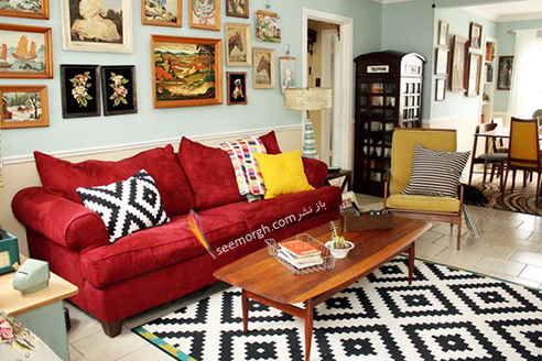 استفاده از رنگ زرد در ترکیب رنگی قرمز، آبی و سفید